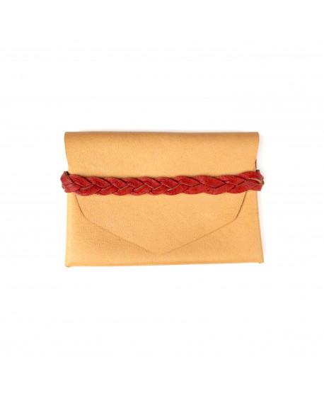Porte-carte tressé en cuir